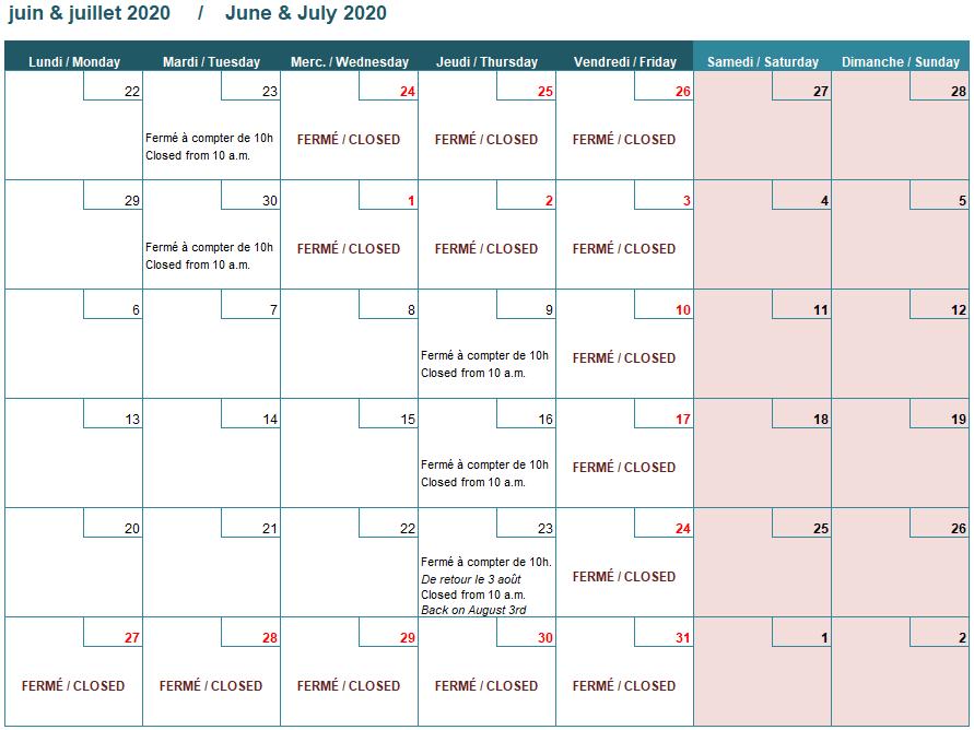 Summer calendar 2020